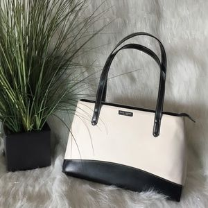 Kate Spade black white block tote bag purse